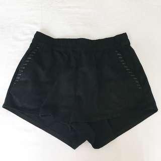 H&M black velvet shorts