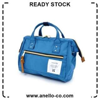【Ready Stock】 Anello Polyester Canvas Mouthpiece Sling Bag (Blue) AT-H0851 | 100% Authentic