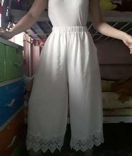 White lace bottom pants
