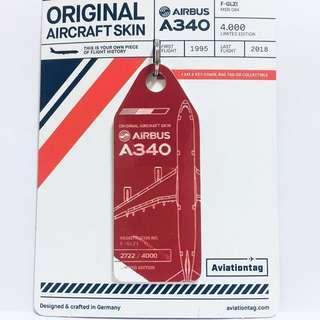 ✈️🇫🇷 Red+White ~ Original Aicraft Skin Air France Airbus A340 (F-GLZI) Aviationtag 法航空中巴士A340 退役飛機外殼鑰匙牌 (🎄最特別嘅聖誕禮物🎁)
