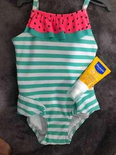 Watermelon Swimsuit (9-12 months) w/ free swimming diapers
