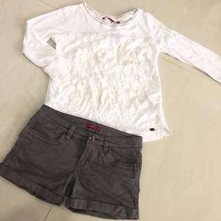 🚚 EDC Esprit 3/4 Sleeves White Top + Low Waist Denim Short Set