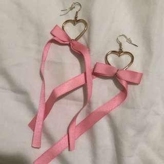 pink heart ribbon earring