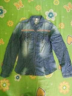 Denim Terranova Long-sleeved Top woth Collar