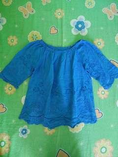 Blue Conbipel Blouse with Crocheted Design