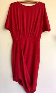ASOS Red Dress Size 12 Short Sleeve Stretch Pleated Front Crossover Drape Hem NWT