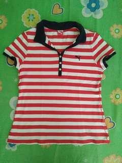 Red/Navy Blue/White Striped Puma Shirt eith Collar