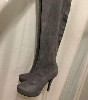 Grey over the knee boots - 7.5/8