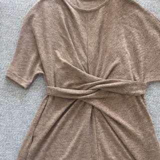 Tie Waist Knit Dress, Oatmeal