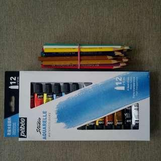 Pebeo Studio Aquarelle 12 color Tubes (with 28 pcs. Faber Castell Color Pencil