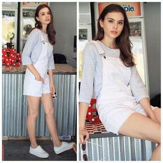 TCL Calley Denim Dungaree In White