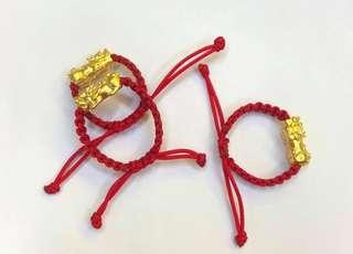 24K HK Gold Piyao in red bracelet for luck/moneycather
