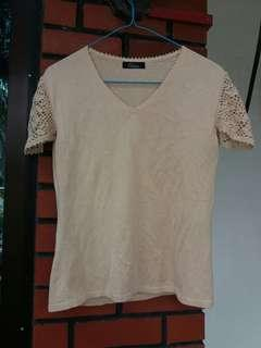 Beige Crocheted Sleeve Knit Top/Shirt