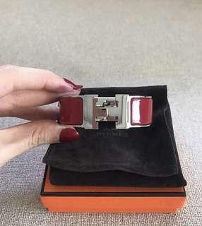 Authentic Hermes clic clac wide dark red