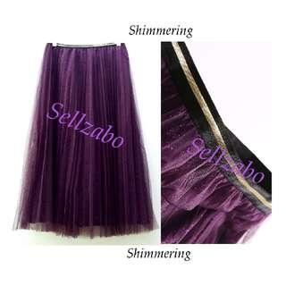 #S157 One Size Mesh Skirts Shimmers Mid Length Below Knee Length Flare Layers Layered Wrap Sellzabo Ladies Girls Women Female Lady Design Style Plain Purple/Black Colour Party