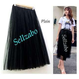 #S158 One Size Plain Mesh Flare Skirts Short Below Knee Length Sellzabo Ladies Girls Women Female Lady Design Net Netted Black Colour Princess Party