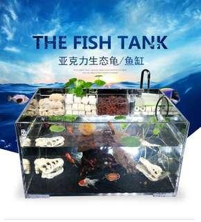 Acrylic fish tank with filter boxes