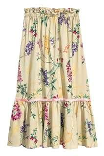 H&M floral midi skirt size 34