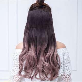 Hair clip big layer wavy curly warna ombre gradasi hairclip