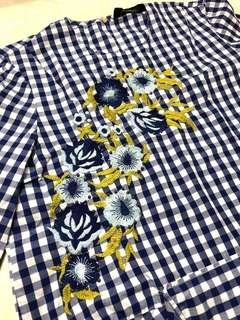 ZARA Woman Blue Checkered Flower Embroidered Top Preloved