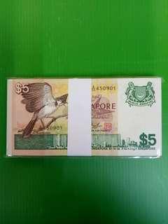 Bird Series $5 A/55 450901 A/55 451000. 100 run  condition  unc