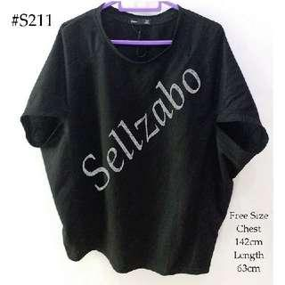 #S211 One Size Top Short Sleeves Cape Style Loose Plain Simple Tee T-Shirts Blouse Shirts Sellzabo Ladies Girls Women Female Lady Design Black Colour