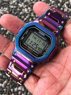 ☂️☂️☂️Rainbow / Iridescent / dazzle colour DW5600 metal set , gshock , g-shock , GSHOCK , G-SHOCK , Casio , CASIO , Casio