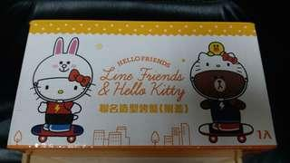 line friend x hello kitty 陶瓷烤盤一個,全新未用過