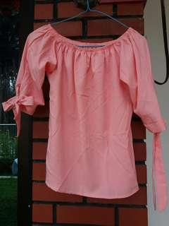 Salmon Pink Off Shoulder Top