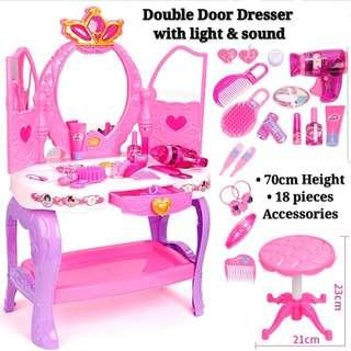 Pink Princess Girl Double Door Dresser with Stool Light and Sound