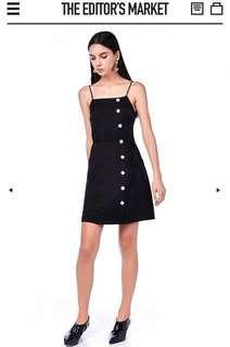 LF: TEM Black Valon Bib Dress in S