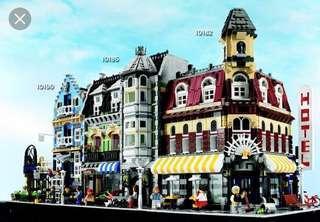 LEGO 絕版最早期三盒 街道系列 10190 Factory Market Street 10185 Green Grocery 10182 Hotel Cafe Corner