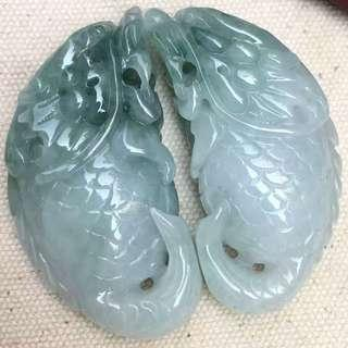Certified Type A Icy Jadeite Pendant Ice Green Floating Flower Jade Pair Dragon Fish 龙鱼
