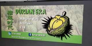 Experienced Durian Stall Helper required