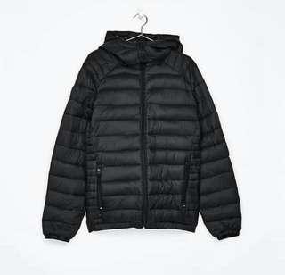 Bershka mens nylon puffer jacket black