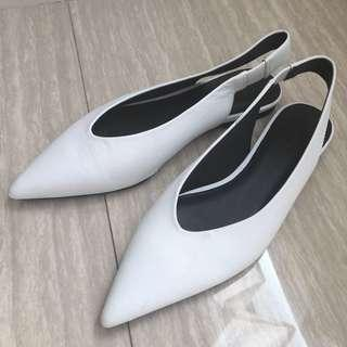 Mango Pointed Toe Leather Shoe in White