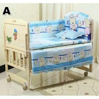 *FREE DELIVERY to WM only / Ready stock* Baby cot bedding set of 5 as shown design / color.  Free delivery applied for this item.