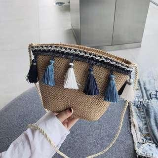 (3Col) Crochet Knitted Tassel Mini Sling Bag