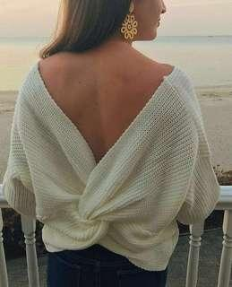 Knit Tied Knot/Twist Cream Sweater