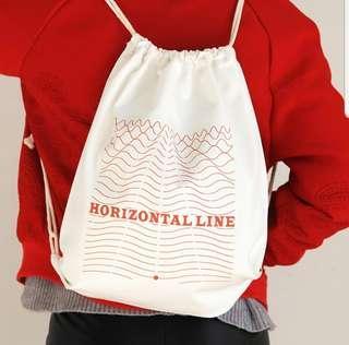 Korean Style White Canvas Drawstring Bag