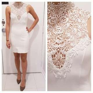 NWOT White Lace High Neck Dress (S)