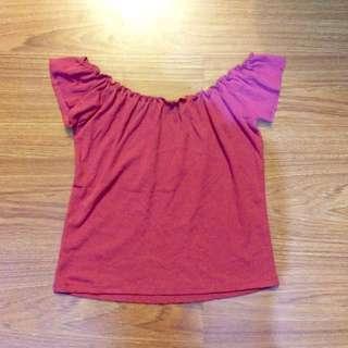 Pink stretchy off-shoulder
