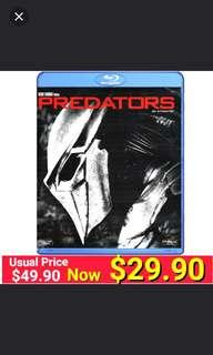 Bllu-Ray PREDATORS by 20th Century Fox. Starring:Adrien Brody. (Brand New in box and factory sealed ) Usual Price:$49.90 Special: $29.90 + Free Mail Postage.  Or Get this for $19.90 with any purchases of car accessories.