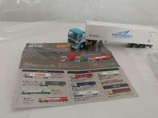 [散裝]全新超級精細版 已絕版tomytec 1:150 n gague 第一彈日野藍/白頭 nyk logistics貨櫃車 hino trailer