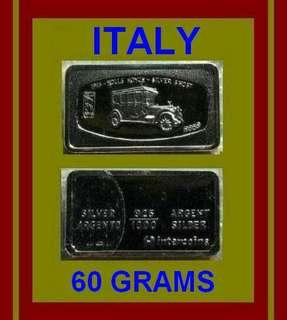 ♦ ITALY, Intercoins. 60g Grams (1.785 Oz.T 999) Fine Silver Ingot Art bar