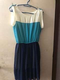 Light blue and navy dress