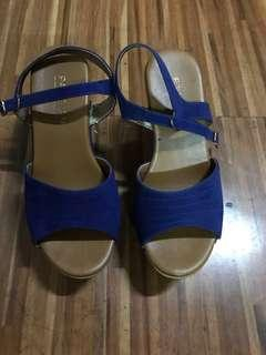 preloved blue wedge shoes