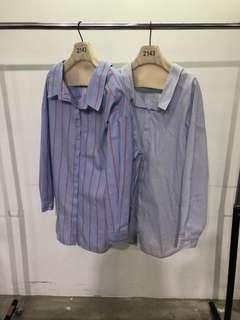 2143 條紋襯衫-藍紅-F