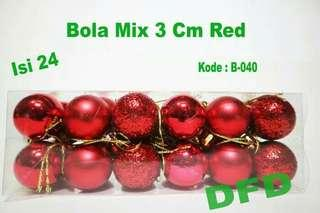 Ornamen Natal ( Bola Natal Mix Isi 24 uk : 3 cm Red )