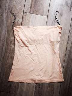 H&M cotton top 淡粉内衣棉質L  實物是淡粉 燈光下反光變白 胸,37CM 好新
